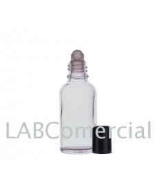 Frasco vidrio transparente 50 ml con roll-on y tapa negra