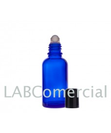 Frasco vidrio azul 50 ml con roll-on y tapa negra