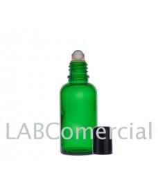 Frasco vidrio verde 15 ml con roll-on y tapa negra