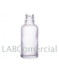 Flascó vidre 50 ml translúcid setinat a l'àcid rosca DIN18