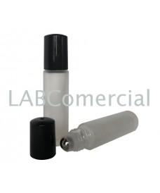 Flacon roll-on verre blanc dépoli et acier inox 10 ml