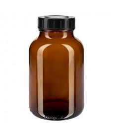 Poudrier 1000 ml verre ambré et bouchon à vis noir