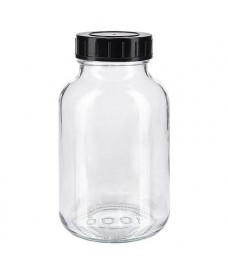 1000 mL Clear Glass Powder Bottles & Urea Black Screw Cap