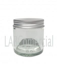 Pot verre blanc 60 ml avec bouchon à vis aluminium