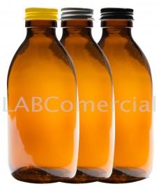 Frasco rosca 60 ml con tapa aluminio PP28 ámbar