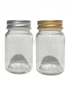 Frasco boca ancha 125 ml transparente tapa rosca aluminio