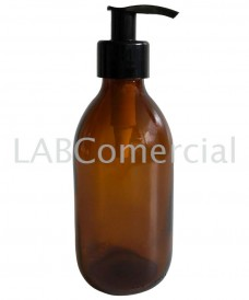 Flacon jaune 125 ml avec pompe dispenser noir à vis PP28