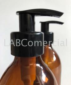 Flacon jaune 250 ml avec pompe dispenser noir à vis PP28