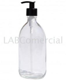 Flacon blanc 500ml avec pompe dispenser noir à vis PP28