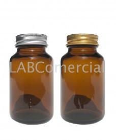 Flacon poudrier jaune 125 ml avec couvercle à vis aluminium