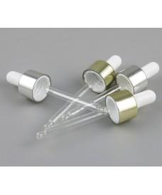 Compte-gouttes doré à vis 18mm tube verre 90mm