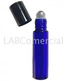 Frasco azul con roll-on de acero inox 10 ml
