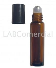 Tube roll-on verre jaune 10 ml avec balle acier inox