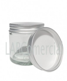 Pot verre blanc 30ml bouchon à vis aluminium