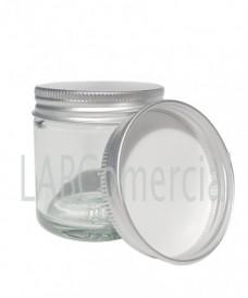 Pot verre blanc 120ml bouchon aluminium